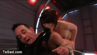 Bound guy ass paddled by Asian tranny