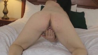 Natural fembois spreads her ass and jerksoff
